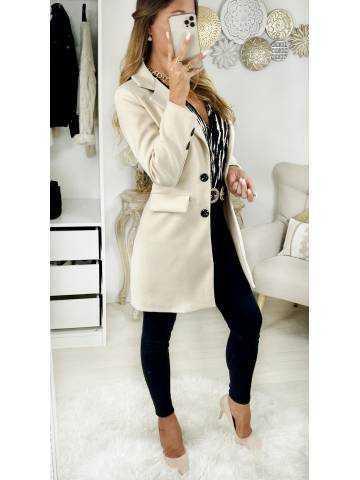 """Mon manteau en lainage beige """" boutonné"""""""