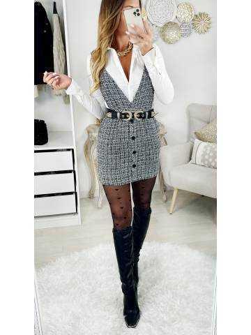 "Ma jolie robe black & white  ""style tweed et bretelles"""