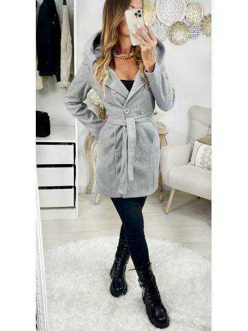 Mon manteau en lainage grey & hood
