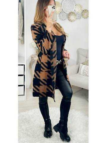 """Ma jolie veste à chevrons ceinturée """"black & camel"""""""