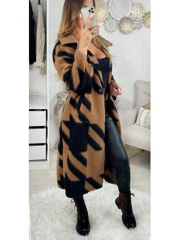Mon long manteau à chevrons camel & noir