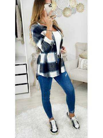"""Ma veste en lainage loose à carreaux"""" White & Blue"""""""