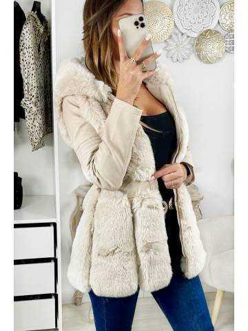 """Ma doudoune mi-longue beige """"Style cuir & fur"""""""