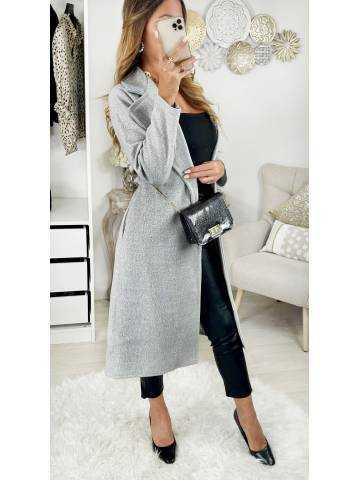 Mon joli manteau long et ceinturé Light Grey