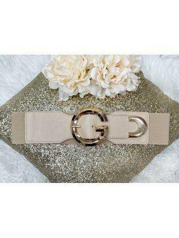 """Jolie ceinture élastique beige """"Maxi gold"""""""