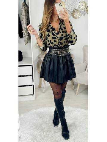 "Ma jolie Jupe black  style cuir ""plissée"""