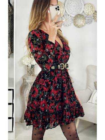"""Ma jolie robe cache coeur noire """"red & velvet"""""""