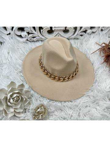 """Mon joli chapeau beige en feutrine """"chaîne Gold """""""